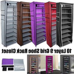 10-Tier 9 Lattices Shoe Rack Storage Cabinet Tower with Non-