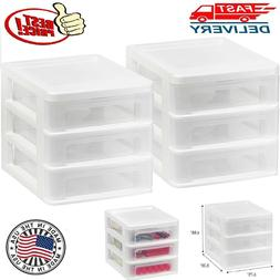 2Pack Plastic Storage Drawers Clear Rack Container Bin Cabin