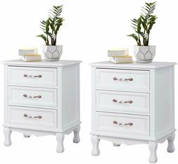 Giantex Set of 2 Wood Night Stand Bedroom Cabinet Storage Wh