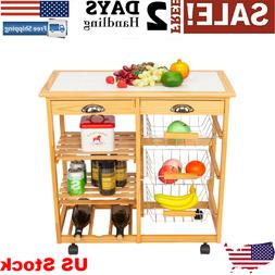 360 Universal Wheel Movable Double-row Shelf Kitchen Dining