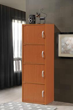 4-Door Tall Cabinet Home Office Storage Pantry Toys Clothes