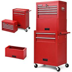 6-Drawer Rolling Tool Chest Storage Cabinet Toolbox Combo Lo