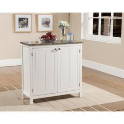 Kings Brand White With Marble Finish Top Kitchen Island Stor