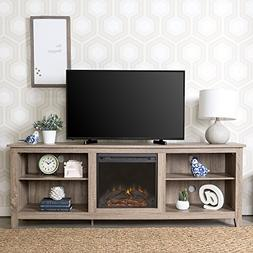 """WE Furniture 70"""" Wood Fireplace TV Stand Console, Driftwood"""