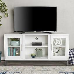 """WE Furniture 52"""" Avenue Wood TV Console with Metal Legs - Wh"""