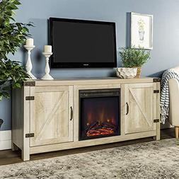 WE Furniture AZ58FPBDWO Fireplace Stand, White Oak