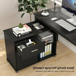 Black File Cabinet with Rolling Wheel and Open Storage Shelv