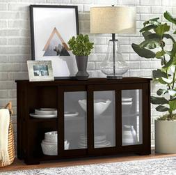 Glass Front Cabinet China Hutch Display Storage Shelves Dini