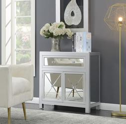 elegant silver mirrored cabinet top drawer concealed