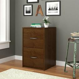 Letter Size Filing Cabinet Wood 2 Drawers For Home Brown Fin