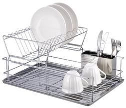 Home Basics Chrome Plated Stainless Steel 2 Tier Dish Rack-D