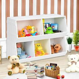 Kids Toy Box Storage Cabinet Flexible Stackable Bookcase She
