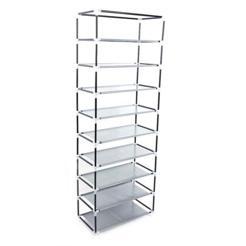 10-Tier 9 Lattices Rack Storage Tower with Non-Woven Cover