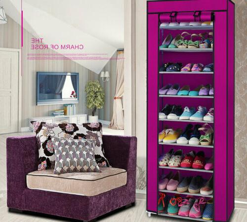 10-Tier Shoe Rack Storage with Non-Woven Fabric Cover