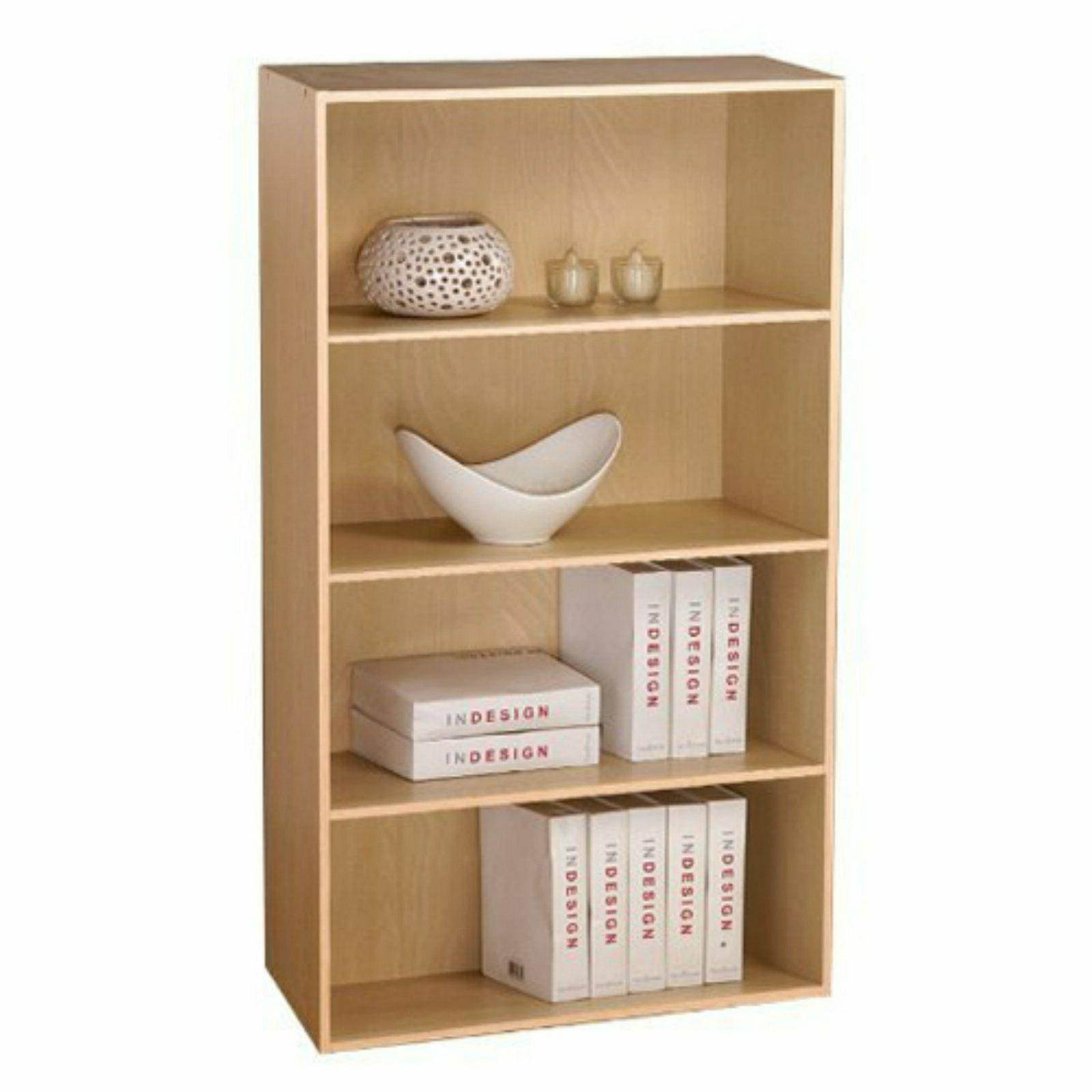 4 Tier Shelf Wooden Bookcase Bookshelf Home Office Storage S