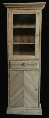 "79"" Farmhouse Narrow Storage Cabinet Natural Bleached Pine F"
