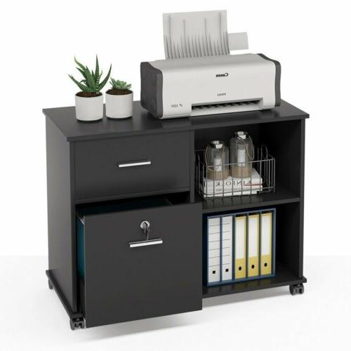 Black File Cabinet Rolling Wheel and Storage Shelves Home Office