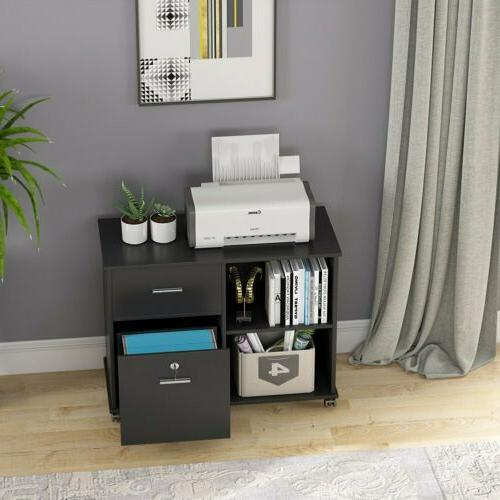 Black File Rolling and Storage Shelves Office