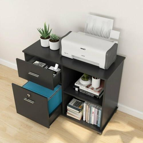 Black with Rolling Open Storage Shelves for Office