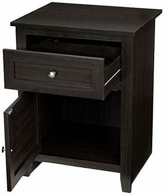 Classic Nightstand End Table w/ Cabinet Cappuccino Drawer Storage Pull