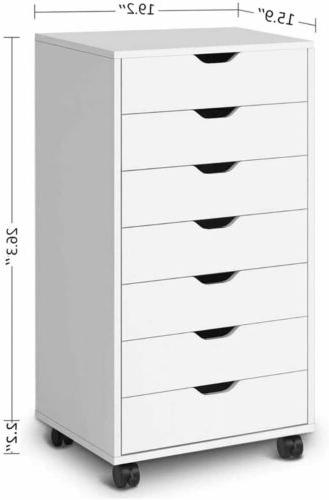 Home Office Mobile Storage Filing Cabinet with Locking Casters