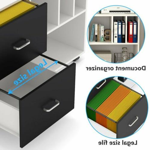 Home Office File Drawers and Open Storage Shelves