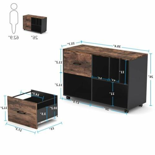 Home File Cabinet with Drawers Open Shelves