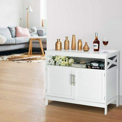 Modern Kitchen Storage Buffet Table Dining Wood White
