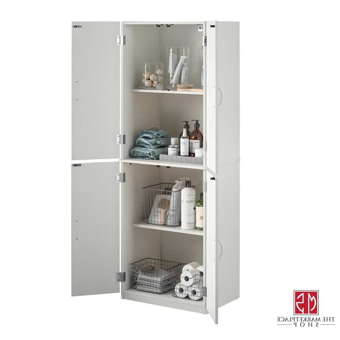 Kitchen Storage Pantry Tall Wood Organizer Shelves White