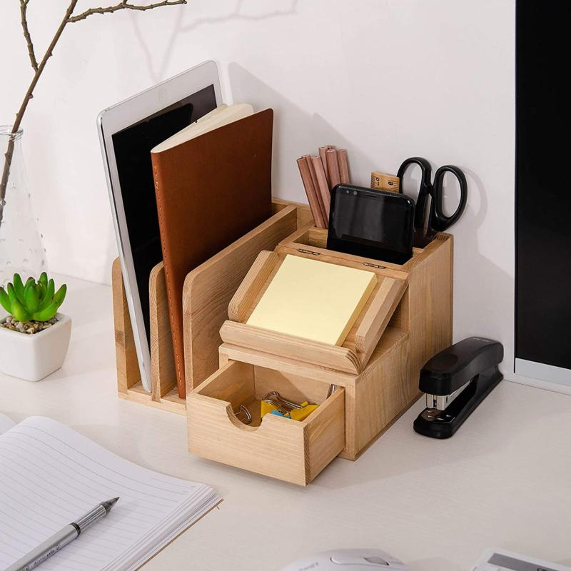 Liry Products Natural Wood Desk Cabinet Mail File Paper