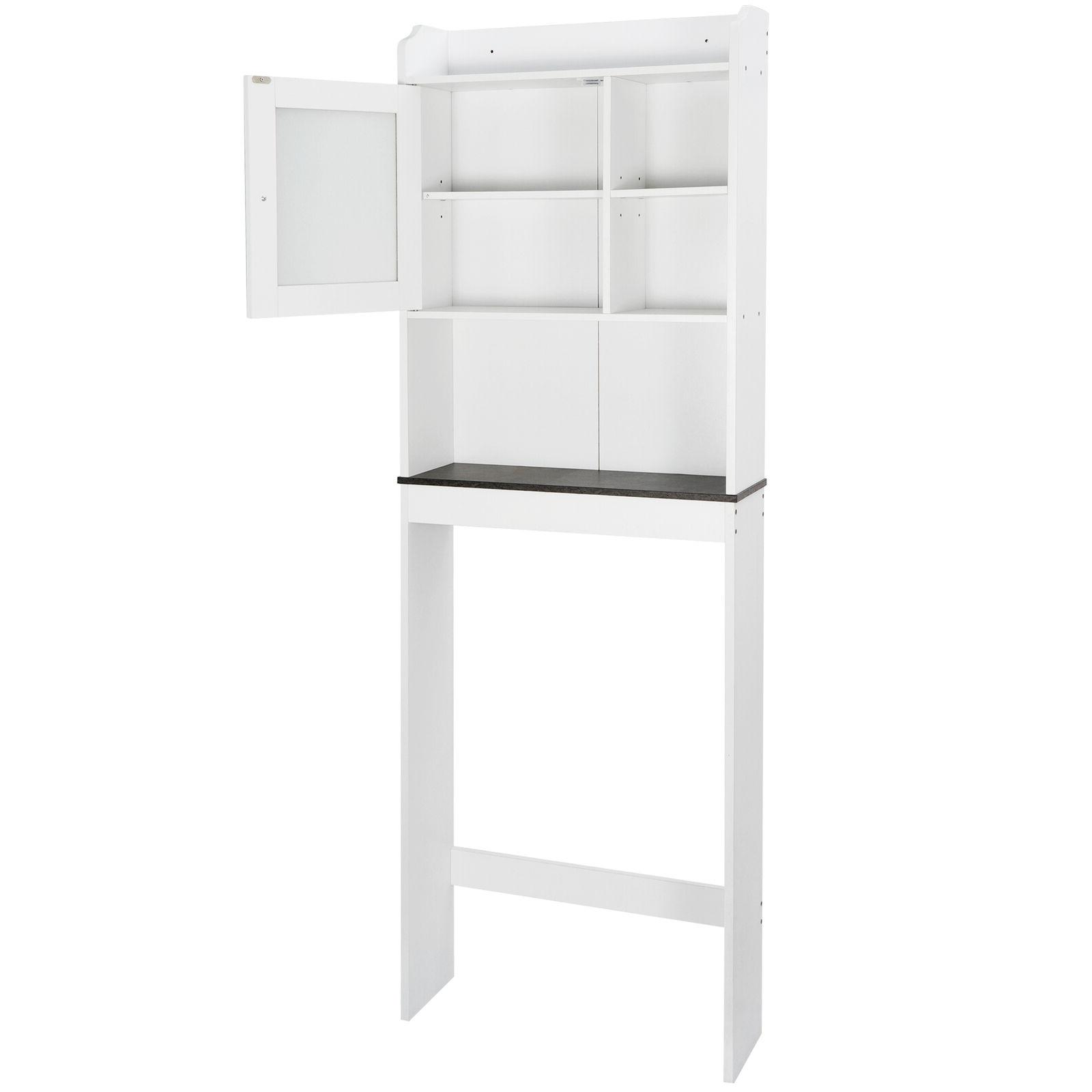 organization wood storage cabinet over the toilet