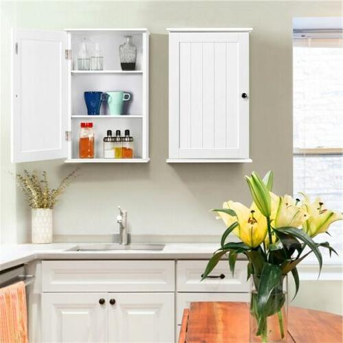 Single 3 Bathroom Mounted Wooden Storage Cupboard