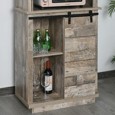 Rustic Wood Cupboard with 5 Shelves