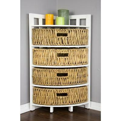 Vale Corner Cabinet with 4 Hyacinth Storage Baskets Off-Whit