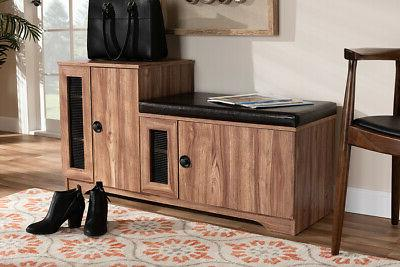 Baxton Valina Upholstered 2-Door With Cabinet