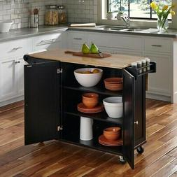 Liberty Kitchen Cart with Wood Top, Black Home Styles 4510-9