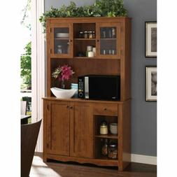 Mahogany Wooden Tall Microwave China Storage Cabinet Cupboar