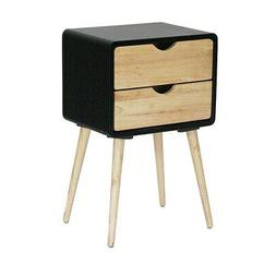 Mid-century Euro 2-drawer Accent Table Black Modern & Contem