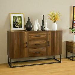 Modern Sideboard Buffet Storage Cabinet w/ 3 Drawers 2 Doors