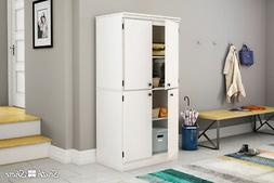 South Shore Morgan Collection 4-Door Storage Cabinet in Whit