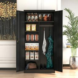 Office Filing Snacks Storage Cabinet with Hanging Coat Rod 4