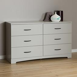 South Shore Step One 6-Drawer Double Dresser, Soft Gray with