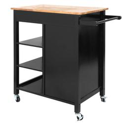 Rolling Kitchen Cart Island Rubber Wood Top Storage Trolley