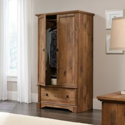Rustic Finish Armoire Wardrobe Storage Cabinet Closet Drawer