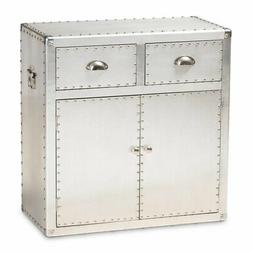 Baxton Studio Serge Silver Metal 2-Door Accent Storage Cabin