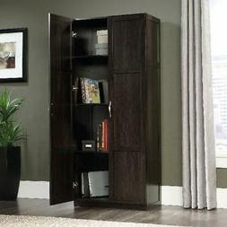 Storage Cabinet 2 Door Cinnamon Cherry Finish 4 Adjustable S
