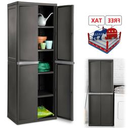 Outdoor Storage Cabinet Plastic Horizontal Shed Shelves Gard