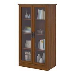 Storage Cabinet With 4 Shelves 2 Glass Doors Bookcase Cupboa