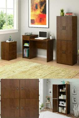 Tall Storage Cabinet Brown Kitchen Pantry Cupboard Office Or